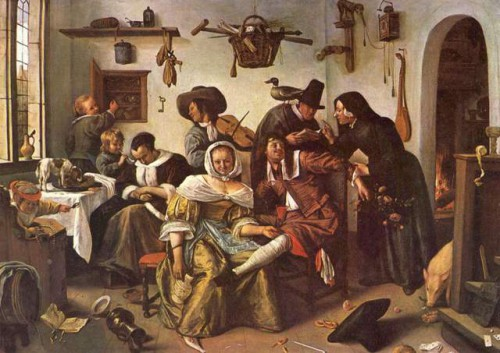 jan steen Die verkerte welt 1663 olio su tela 105 145 cm Kunsthistorisches Museum Vienna_1-il-mondo-alla-rovescia