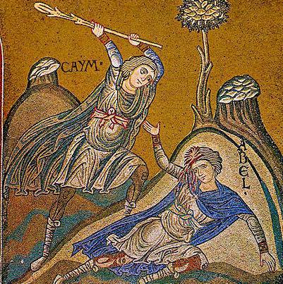 Caino e Abele, mosaico nel duomo di Monreale