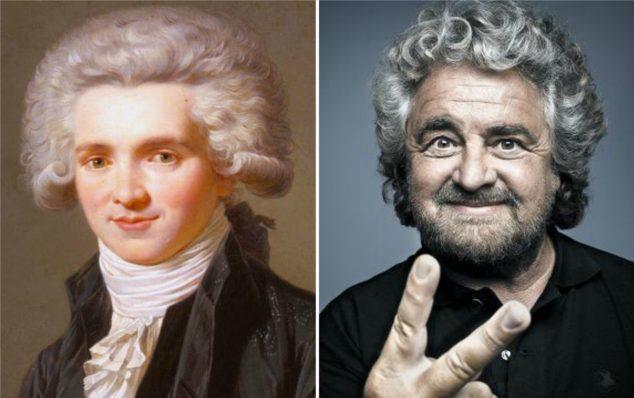 Collage Grillo Robespierre m5s